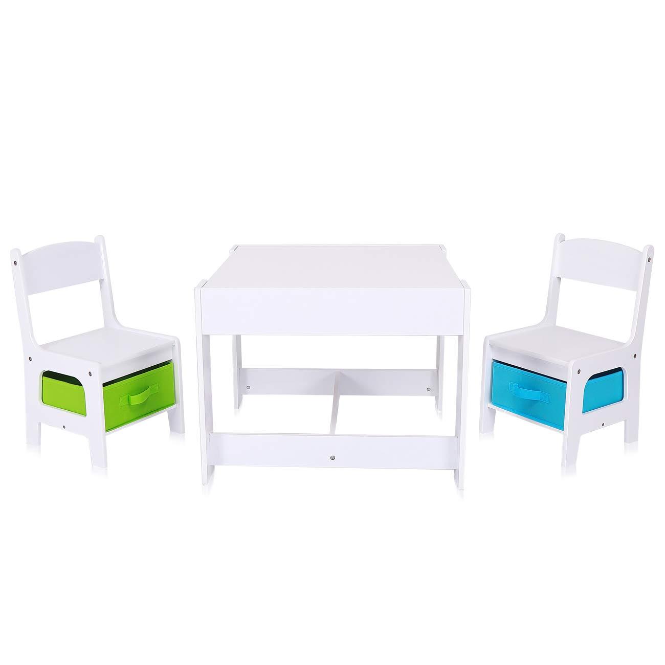 Baby Vivo Set Ni/ños Actividad Mesa con 2 Sillas Infantil Escritorio Juego Cajas Ni/ña y Ni/ño Hecho de Madera MAX
