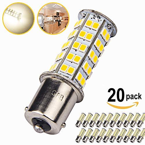 20 x Super Bright 1141 RV Interior LED Light 1156 1003 BA15S 68-SMD Camper Trailer Turn Signal Lamp Bulb 12V Landscape Pathway Outdoor(20pieces of Soft White (4000K-4500K Color Temputure))