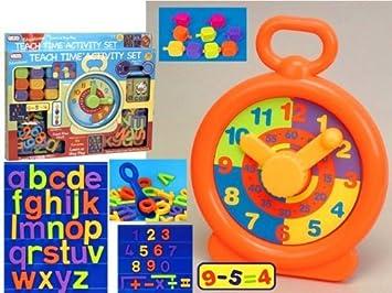 Alphabet Learning Toys : Teach time activity set with alphabet clock blocks learning toy