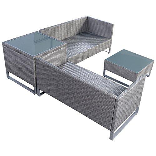 Tangkula 4pcs gray rattan wicker patio sofa cushion seat for Sofa exterior amazon