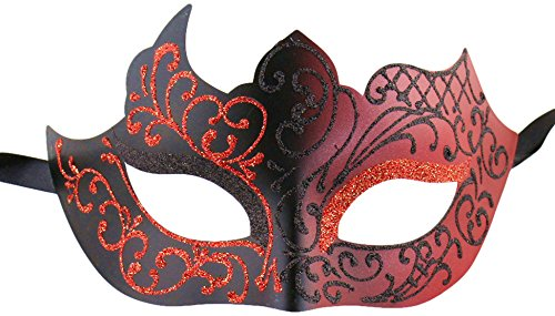 Luxury Mask Assorted Venetian Party Mask, Black/Red, One Size -