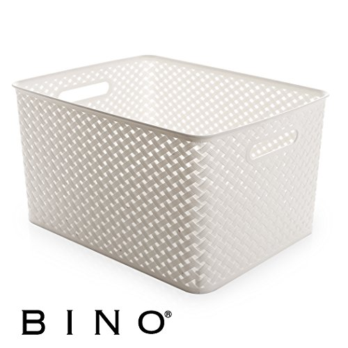 BINO Woven Plastic Storage Basket, X-Large (White)