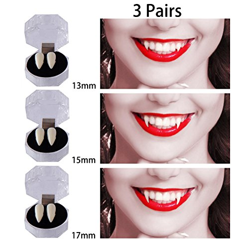 Dee Banna 3 Pairs Vampire Teeth for Halloween, Zombie Ghost Devil Werewolf Fangs for Costume Party Halloween Horror Props (13mm,15mm,17mm)]()