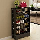 Soges Shoe Racks 5 Tiers Solid Wood Shoes Storage Shelf Free Standing Shoes Organizer Black, L15-B