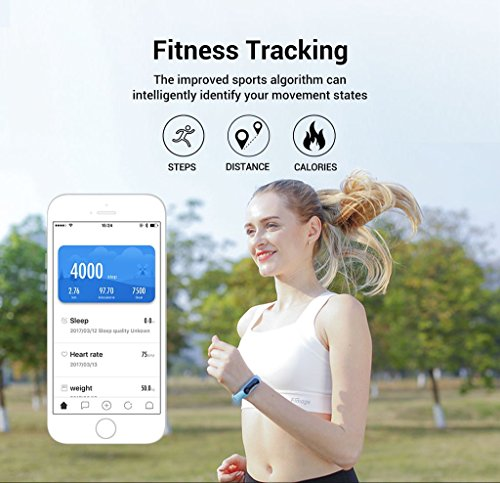 Large Screen Fitness Tracker Watch: Heart Rate Monitor Pedometer Caller ID Text Message Bluetooth for Apple iOS Android | iMCO CoBand K4 2017 Model