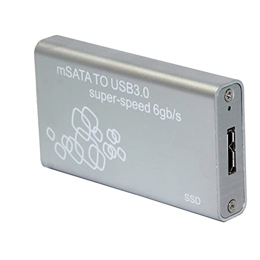 Mini mSATA a USB 3.0 Cable SSD Caja de Disco Duro Carcasa Externa - Plata