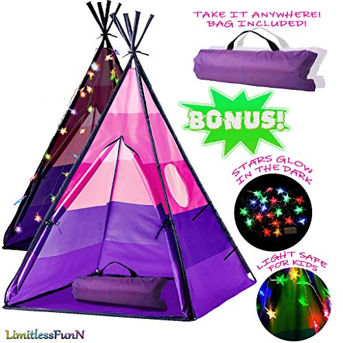 LimitlessFunN Teepee Kids Play Tent Bonus Star Lights & Carrying Case for Girls & Boys, Indoor & Outdoor Use (Pink)