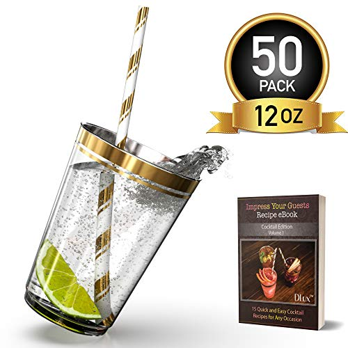 12 oz Gold Rim Plastic Cups with Eco-Friendly Paper Straws - 50 Elegant Clear Rimmed Cocktail & Dessert Tumblers for Weddings & Special Events - Reusable or Disposable - With ()