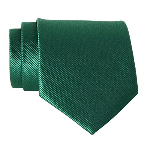 QBSM Mens Dark Green Solid Color Formal Neck Tie Office Dress Suit -