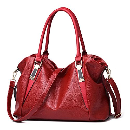 Desklets Womens PU Leather Beauty Tote Boutique Bags Top Handle Handbag(Red)