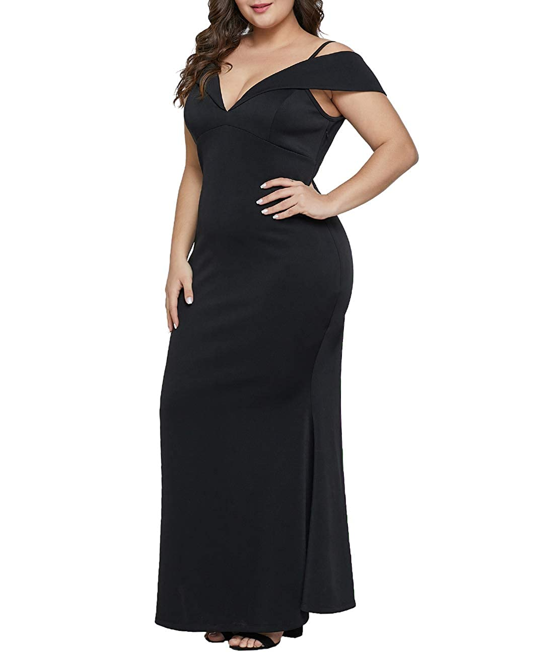 1bcf660101b Amazon.com  Lalagen Women s Plus Size Off Shoulder Long Formal Party Dress  Evening Gown  Clothing