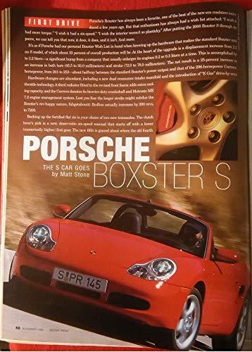 (2000 PORSCHE BOXSTER *S* ROADSTER FIRST DRIVE COLOR ROAD TEST - VINTAGE TEST - USA - MOTOR TREND - FANTASTIC ORIGINAL !! (CHR))