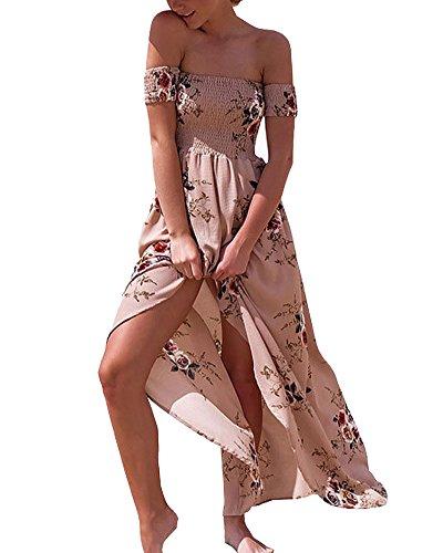 Estampado Floral Sin Tirantes Mujer Bohemia Tunic Swing Maxi Vestido Caf¨¦