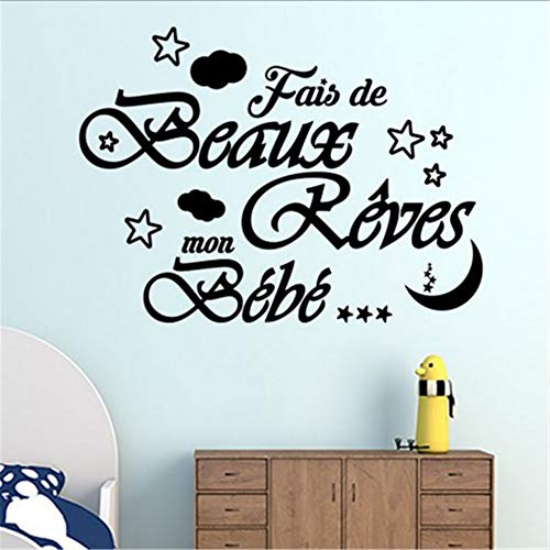 Wall Art Decal Sticker Words Wall Saying Words Removable Mural French Beaux Rêves Mon Bébé Pour La Chambre Des Enfants Sweet Dreams My Baby for Kids Room