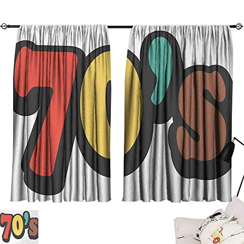 Jinguizi 70s Party Curtain Darkening Blackout The Seventies Symbol Striped and Soft Colored Music Discotheque Artful Design pop Darkening Curtains Multicolor W55 x L39 by Jinguizi (Image #6)