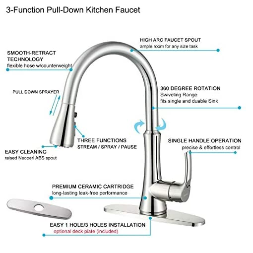 Kitchen WOWOW Kitchen Faucets with Pull Down Sprayer, Stainless Steel Kitchen Sink Faucet Brushed Nickel, Pull Out Single Lever… modern sink faucets
