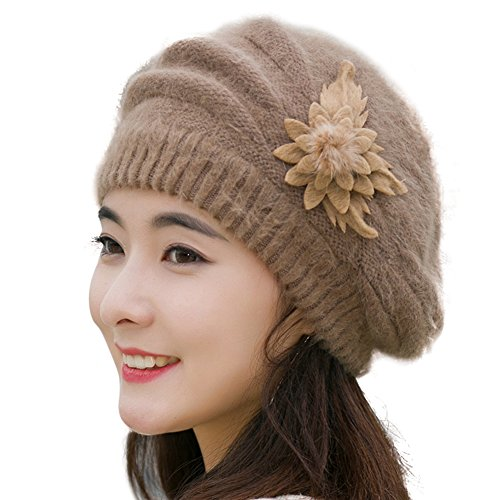 Yosang Women Rabbit Hair Crochet Knit Beret Cap Winter Handmade Wool Hat with Flower Light Brown