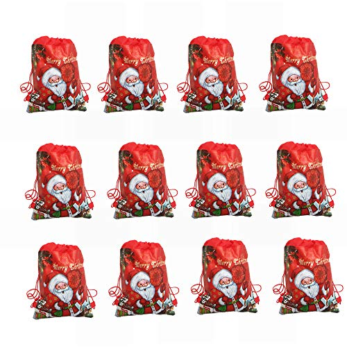 12 Pcs Christmas Party Supplies Favors Bags Reusable Drawstring Goody Gift Pouch Bags for Kids Boys and Girls Birthday, Winter Holiday Xmas Santa Sack Party Supplies Favors
