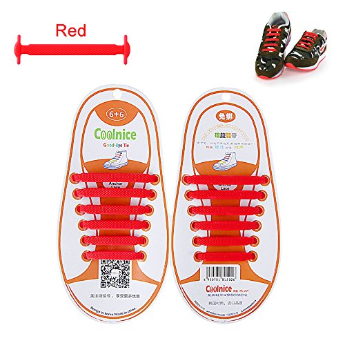 LattoGe No Tie Silicone Shoelaces Lace Lock Bands for Kids, Adults Athletic Running Shoe Laces,Seakers (1 Pair Kids Size Red)