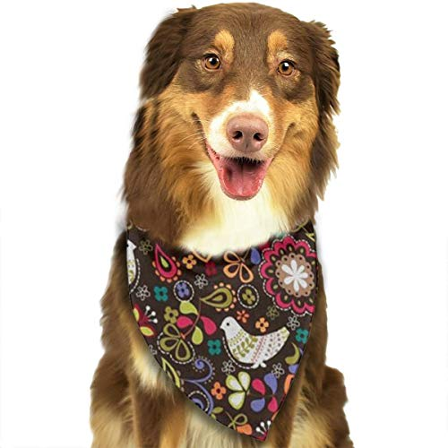 OURFASHION Pigeon with Flowers Bandana Triangle Bibs Scarfs Accessories for Pet Cats and Puppies.Size is About 27.6x11.8 Inches (70x30cm).]()