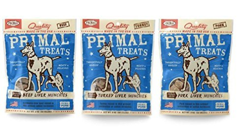 Primal Gluten Free Grain Free Wholesome Dog & Cat Treats 3 Flavor Variety Bundle: (1) Primal Freeze-Dried Turkey Liver Munchies for Dogs & Cats, (1) Primal Freeze-Dried Beef Liver Munchies for Dogs & Cats, and (1) Primal Freeze-Dried Pork Liver Munchies For Dogs & Cats, 2 Oz. Ea. (3 Bags Total)