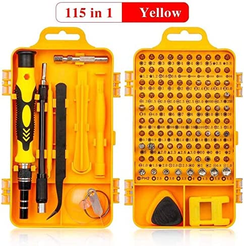YIJIABINGRU 1精密ドライバーセット多機能クロームバナジウム鋼スクリュードライバーハンドツールセットで115/110/52/32/25 交換部品 (Color : Yellow 115 in 1)