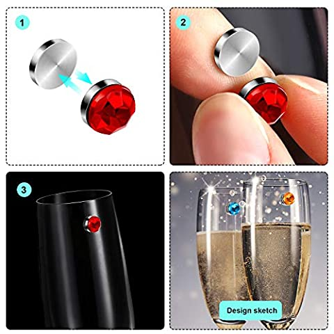 12 Pieces Colorful Crystal Magnetic Drink Markers Wine Glass Charm for Wine Glass Champagne Flutes Cocktails, Martinis…