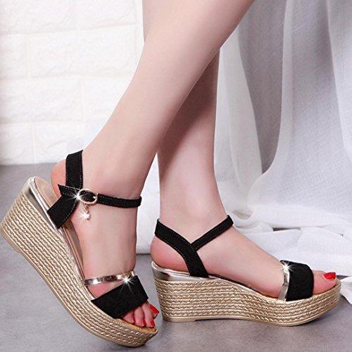 Rcool Sommer Frauen Sandalen Platform Sandalen Einfache Schuhe Shook Schwarz