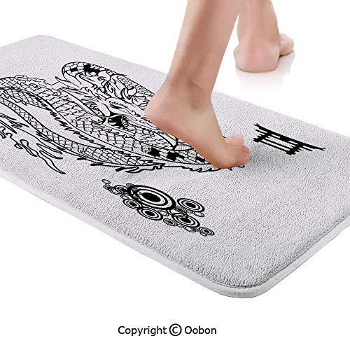 Japanese Dragon Rug Runner,Tattoo Art Style Mythological Dragon