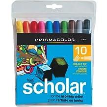 Prismacolor Scholar Art Markers, Bullet Tip, Assorted, 10 Pack by Sanford