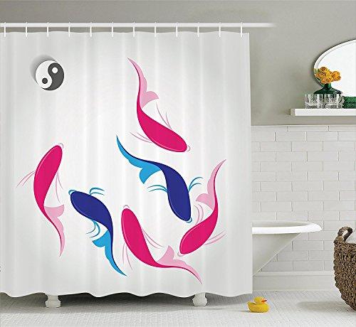 [Japanese Decor Shower Curtain Set Pair of Swimming Authentic Squid Fish withYin Yang Symbol Aquatic Pisces Marine Theme Bathroom Accessories Pink] (Squid Costume Ebay)