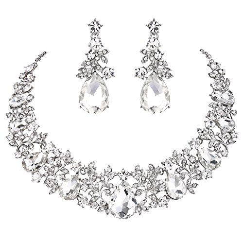 (BriLove Women's Wedding Bridal Statement Necklace Dangle Earrings Jewelry Set with Crystal Cluster Leaf Vine Teardrop Clear Silver-Tone)