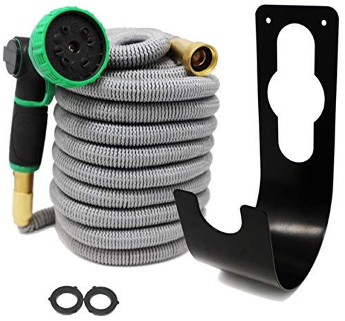 Coastal Outdoor Suppliers 50ft Expandable Water Hose Set - No Kinks/Leaks - 3 Layer Natural Latex Core - 3750D 48 Ply Polyester - 3/4 Solid Brass Fittings + Heavy Duty - Suppliers Hose Flexible
