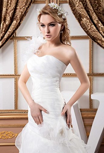 Schulter Organza Elegant BRIDE Brautkleid Neu GEORGE Weiß 1 Design w4tUp