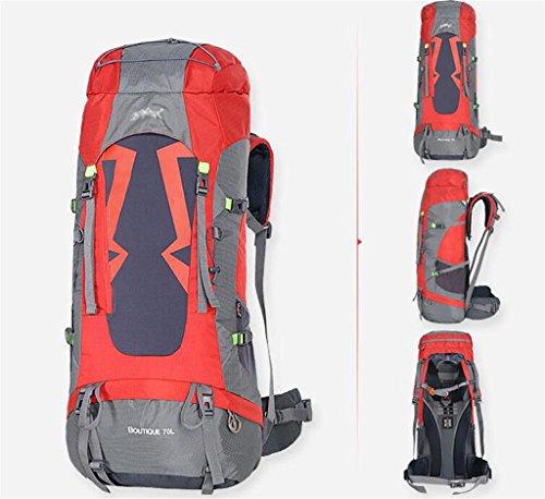 606f0947e5 Outdoor zaino alpinismo uomini e donne borsa da viaggio impermeabile borsa  a tracolla grande capienza zaino 60 / 70L colore Rosso , dimensioni 60l