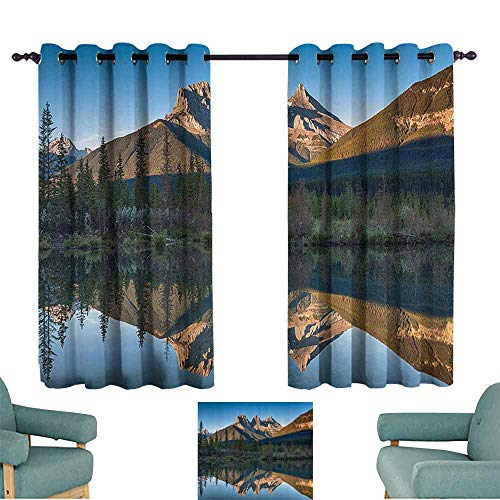 Apartment Decor Collection Simple Curtain Three Sisters Rocky Mountain Tops with Reflections in The River Canadian Rural Habitat 70%-80% Light Shading, 2 Panels,55