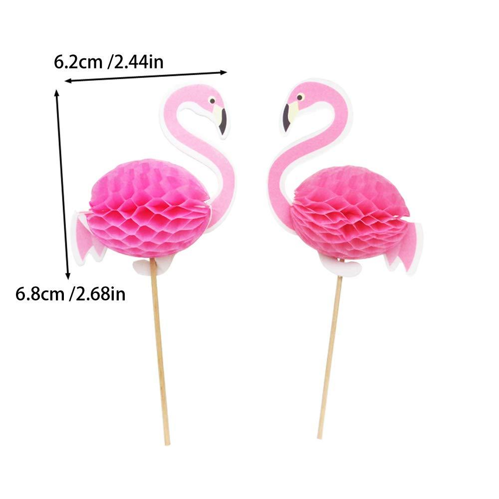 Nuluxi Flamingo Kuchen Dekoration Tortenstecker Flamingo Pink Cupcakes Toppers Pink Flamingo Geburtstag Cupcake Topper Dekoration für Kuchen Eine