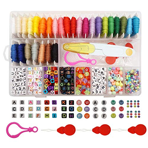 - Friendship Bracelet Making Beads Kit, Letter Beads, Peirich 22 Multi-Color Embroidery Floss Over 1900pcs