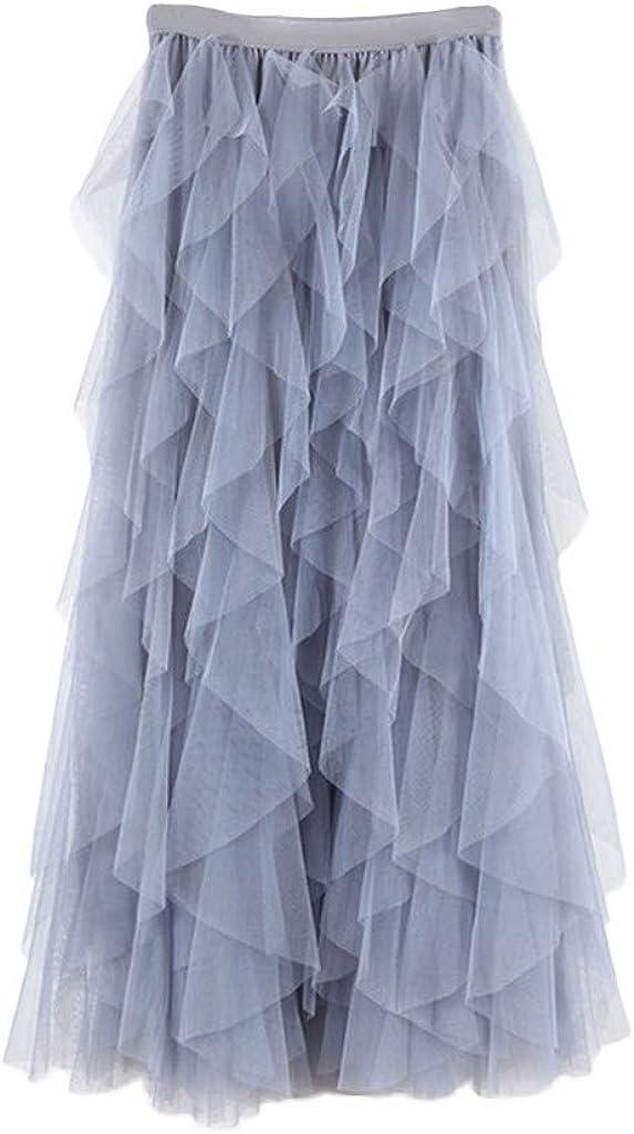TUDUZ Faldas Mujer Largas Verano Casual para Cómoda De Tul De Cintura Alta Falda Plisada del Tutú De Midi