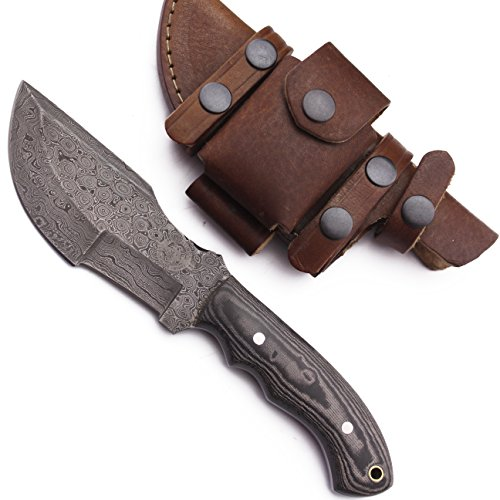 WolfKlinge DCX17-63 Handmade Damascus Steel Hunter / Tracker, Micarta Handle, with Cowhide Leather Sheath
