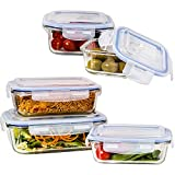 Glass Food Storage Containers with Lids (5-Piece Set) | BPA-Free | Meal Prep Container Set for Ultimate Nutrition Preparation | Airtight, Waterproof, Fully Insulated, Reusable & Leakproof Protection | Microwave, Oven, Freezer, Dishwasher Friendly | Customer Care Promise Guarantee…