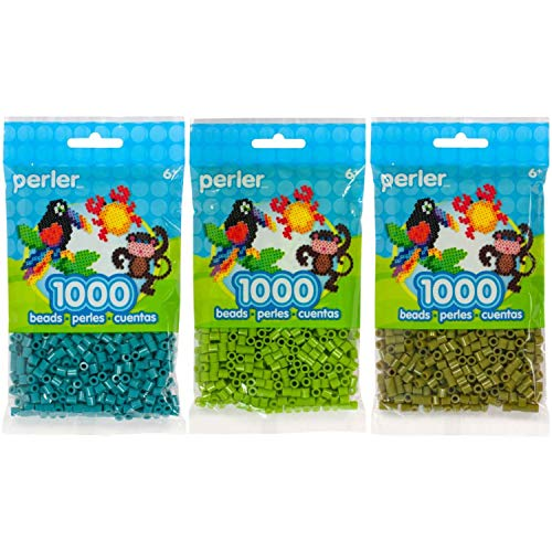 (Perler Bead Bag 1000, 3-Pack - Teal, Fern & Olive )