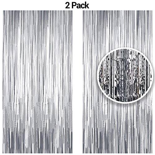 - Silver Metallic Tinsel Foil Fringe Curtains for Party Photo Booth Props | Backdrop | Wedding Décor | Baby Shower| Graduations | Valentine Day | Bachelorette| Birthday Party Door Decorations 2 Pack