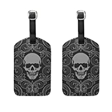 LORVIES Skull Pattern Luggage Tags Travel Labels Tag Name Card Holder for Baggage Suitcase Bag Backpacks, 2 PCS