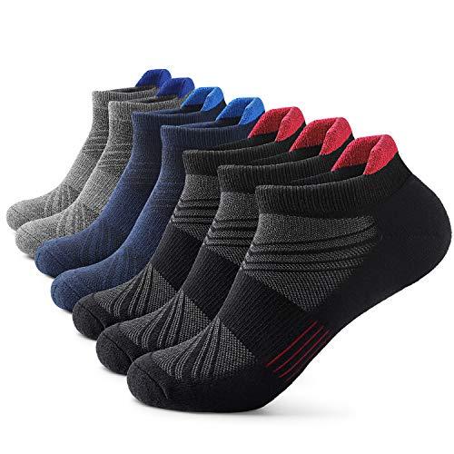 Mens Ankle Athletic Socks Men's Running Sports 7 pairs Socks Comfort Cushioned Running Tab Socks (7 Pairs)