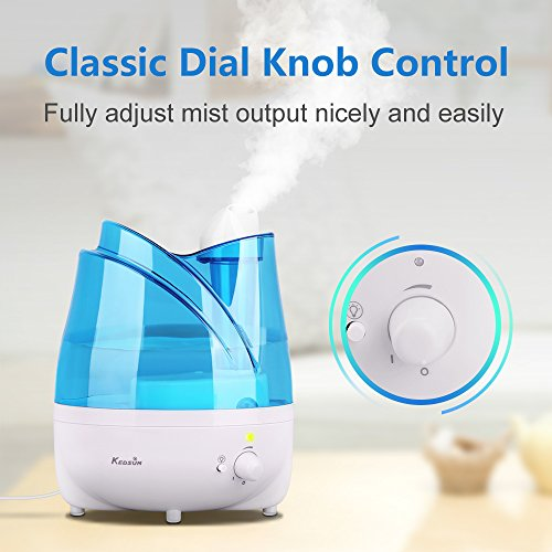 KEDSUM Ultrasonic Cool Mist Humidifiers,2L Ultrasonic Humidifier with Essential Oil Tray, Night Light Function, Waterless Auto Shut-Off,Whisper Quite, Adjustable Mist Dial Knob Control by KEDSUM (Image #2)