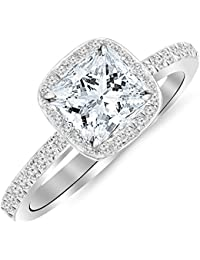 2.25 Ctw 14K White Gold GIA Certified Princess Cut Classic Halo Style Cushion Shape Diamond Engagement Ring, 2 Ct D-E VS1-VS2 Center