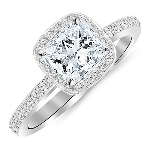 0.62 Cttw 14K White Gold Princess Cut Classic Halo Style Cushion Shape Diamond Engagement Ring with a 0.37 Carat I-J Color I1 Clarity Center