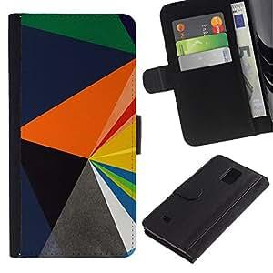 Planetar® Modelo colorido cuero carpeta tirón caso cubierta piel Holster Funda protección Para Samsung Galaxy Note 4 IV / SM-N910 ( Blue Orange Black Polygon Pattern )