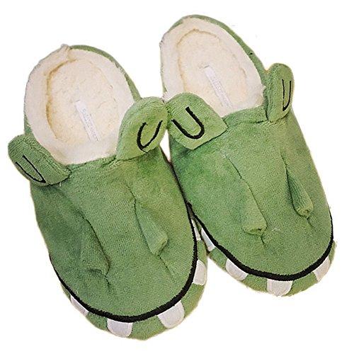 Cybling Elegante Encantador Animal Esponjoso Casa Zapatilla Antideslizante Acogedor Cálido Interior Zapatos Verde